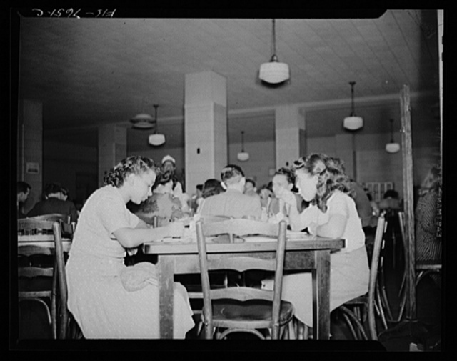 Washington, D.C. International student assembly. International students eating in the Interstate Commerce Commission cafeteria