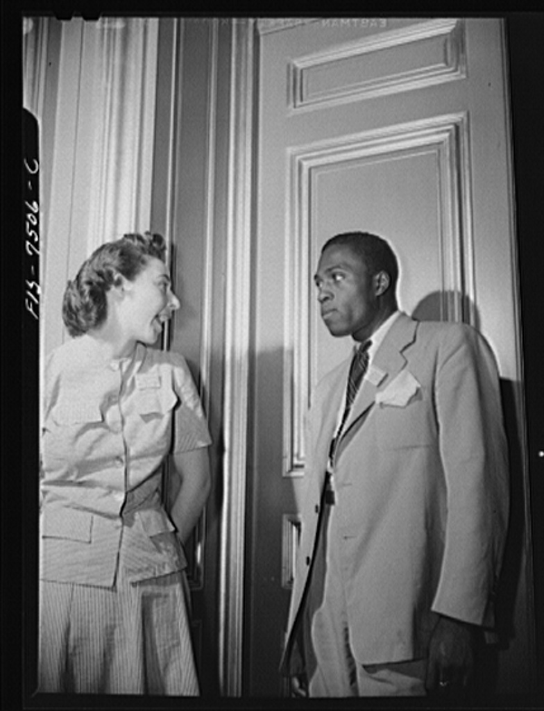 Washington, D.C. International student assembly. Pauline Biurski, a delegate from the Union of South Africa and Charles Campbell of Howard University, secretary of the affiliations committee