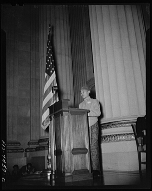 """Washington, DC. International student assembly. Roden Kadir, delegate from the East Indies, a student at Catholic University, addressing on """"Indonesian students in the war"""""""