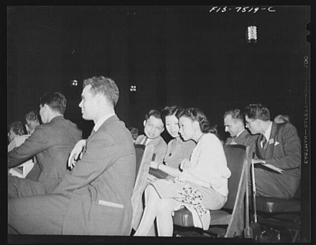 Washington, D.C. International student assembly. Wang Yung, a Chinese movie actress, with two friends