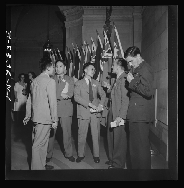 Washington, D.C. International youth assembly. British and Chinese delegates in the lobby