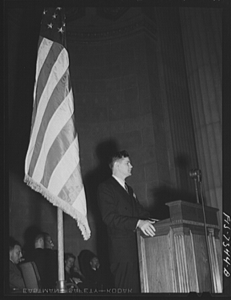 Washington, D.C. International youth assembly. Delegate from Russia addressing the convention