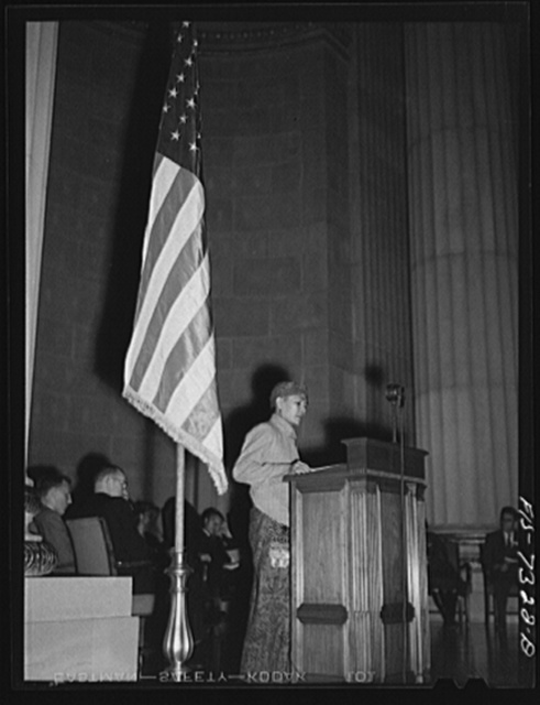 Washington, D.C. International youth assembly. Delegate from the Dutch East Indies addressing the assembly