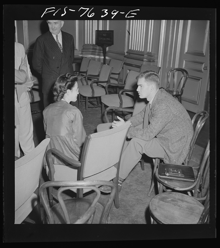 Washington, D.C. International youth assembly. Informal discussion between a Korean delegate, left, and a Canadian delegate