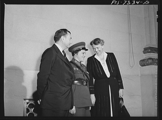 Washington, D.C. International youth assembly. Liudmila Pavlichenko, famous Russian sniper, with Mrs. Roosevelt and Justice Robert Jackson