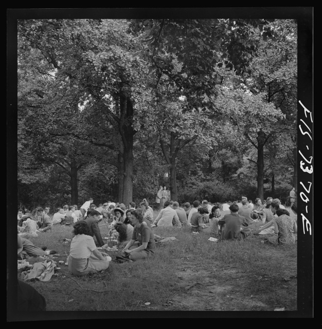 Washington, D.C. International youth assembly. Lucheon for delegates on the lawn at American University