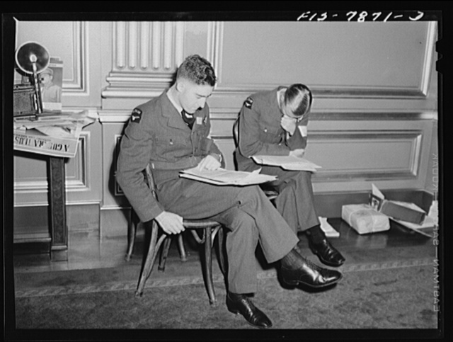 Washington, D.C. International youth assembly. New Zealand delegates reading press releases on assembly