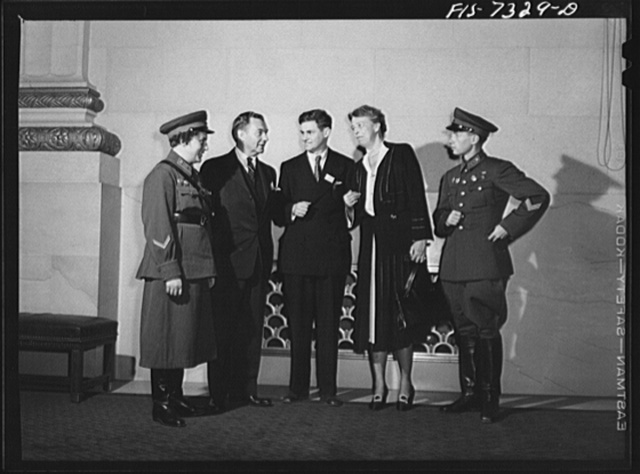 Washington, D.C. International youth assembly. Russian delegates with Mrs. Roosevelt and Justice Robert Jackson