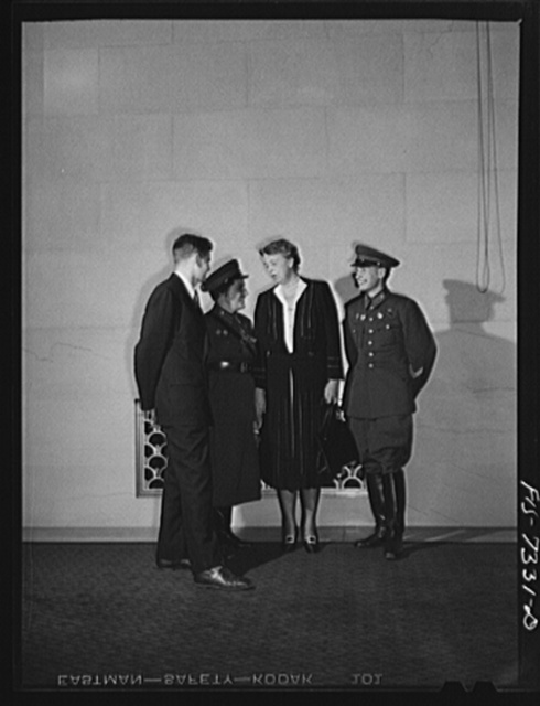 Washington, D.C. International youth assembly. Russian delegates with Mrs. Roosevelt