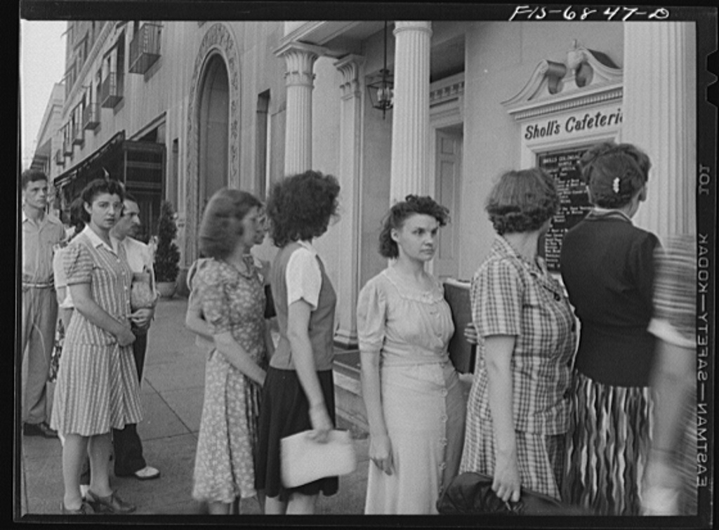 Washington, D.C. Line outside Scholl's cafeteria on Connecticut Avenue, at six p.m. Over 100 people stand in line and are served at the rate of one every minute