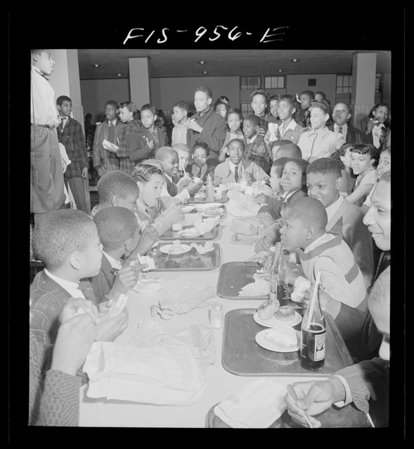 Washington, D.C. Lunch in the cafeteria of the Armstrong Technical High School. Students may bring food from home
