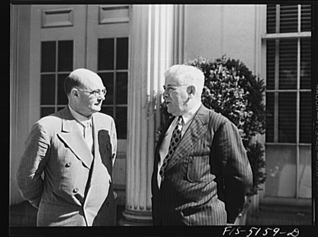 Washington, D.C. Mr. Hedman, a Swedish journalist, with Mike McDermott of the U.S. Department, after President Roosevelt's press conference