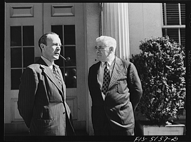 Washington, D.C. Mr. Horne, a Swedish journalist, with Mike McDermott of the U.S.  State Department, after President Roosevelt's press conference