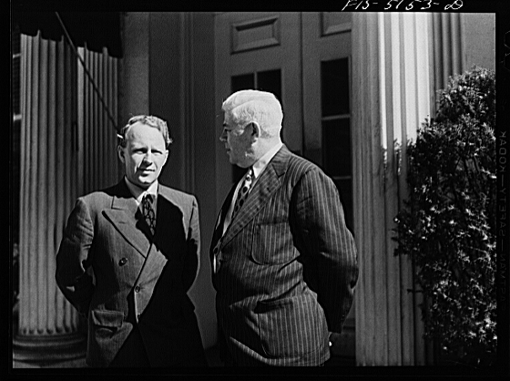 Washington, D.C. Mr. Nasstrom, a Swedish journalist, with Mike McDermott of the U.S. State Department, after President Roosevelt's press conference