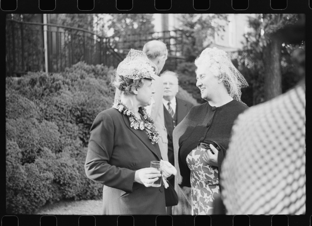 Washington, D.C. Mrs. Henry Morgenthau, wife of the Secretary of the Treasury, chatting with Mrs. Maxim Litvinoff at a garden party at the New Zealand Legation
