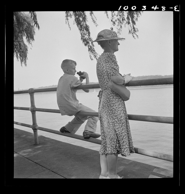 Washington, D.C. Old and young watching sailboats at Haines Point [i.e. Hains Point]