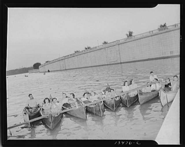 Washington, D.C. Russian war anniversary benefit at the Watergate. Boaters on the Potomac River get choice seats