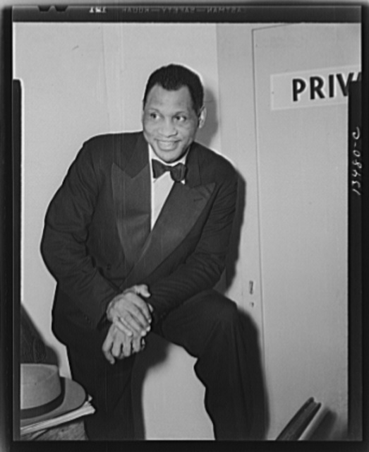 Washington, D.C. Russian war anniversary benefit at the Watergate. Paul Robeson backstage