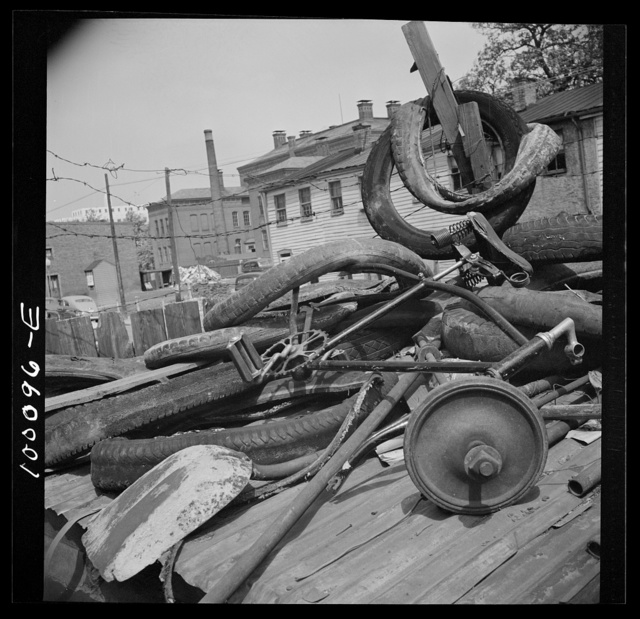 Washington, D.C. Scrap salvage campaign, Victory Program. Bicycle, tires and shovel in yard of retail junk dealer