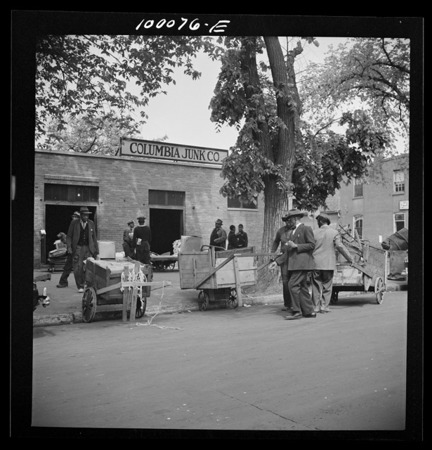 Washington, D.C. Scrap salvage campaign, Victory Program. People bring their junk to a retail junk yard in everything from a pushcart to a limousine