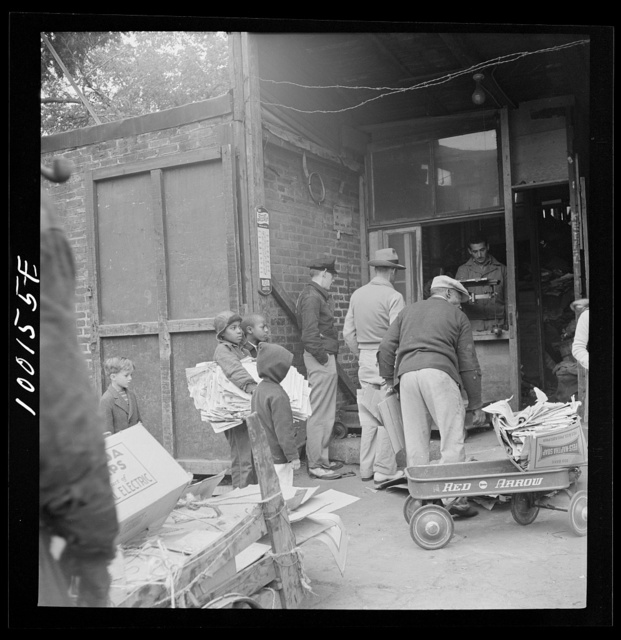 Washington, D.C. Scrap salvage campaign, Victory Program. Scrap being weighed before their purchase by a retail junk dealer
