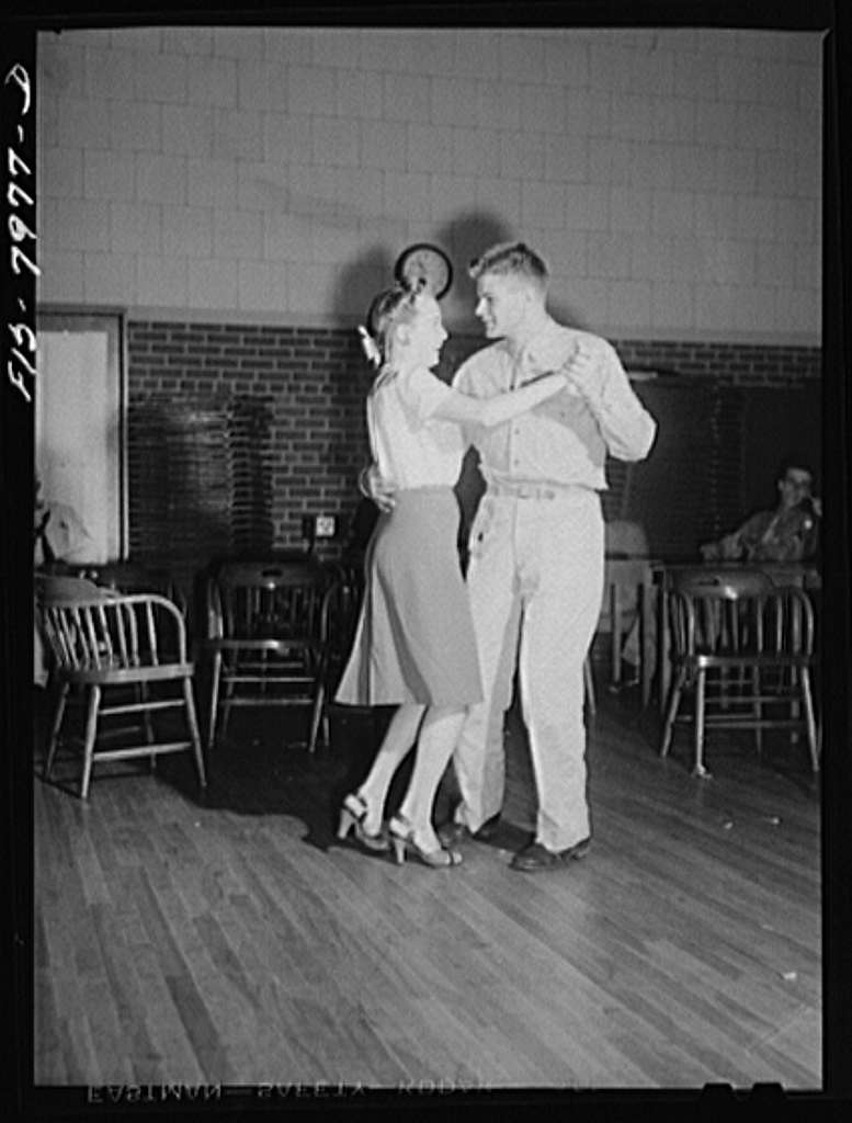 Washington, D.C. Sergeant George Camblair taking his girl dancing at the United Service Organization (USO) while he is at home on a weekend furlough