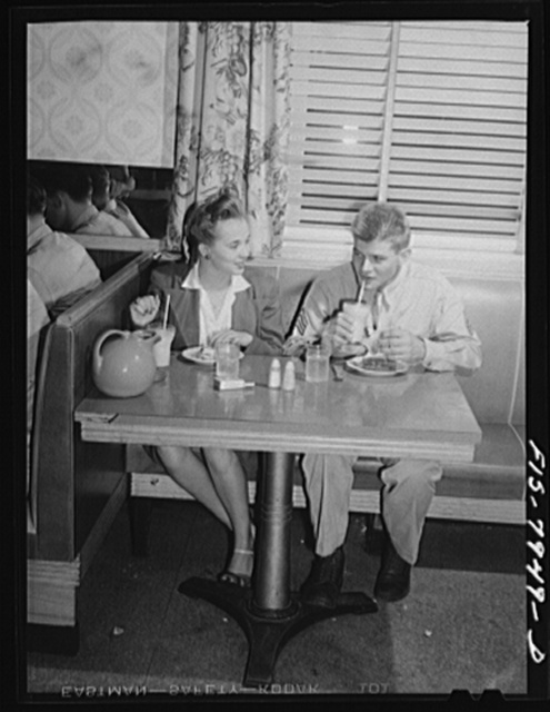 Washington, D.C. Sergeant George Camblair taking his girl for refreshments after a dance at the United Service Organization (USO)
