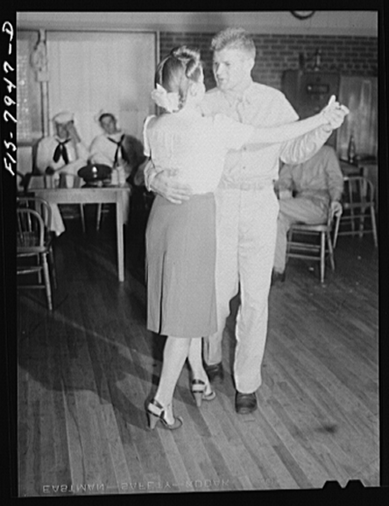 Washington, D.C. Sergeant George Camblair taking his girlfriend dancing at the United Service Organization (USO) during a weekend furlough