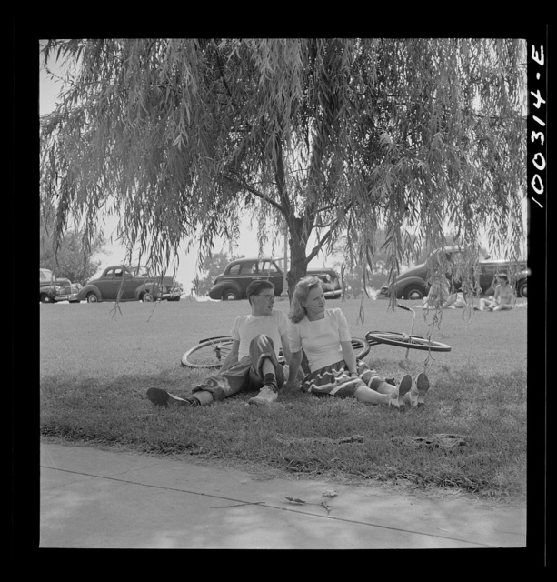 Washington, D.C. Sunday cyclist at Haines Point [i.e. Hains Point]