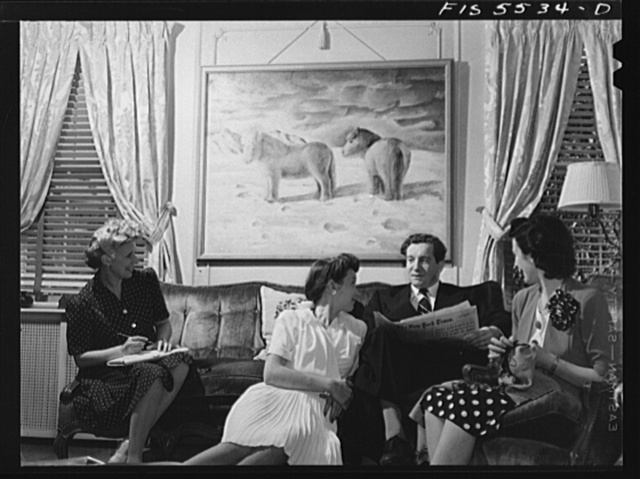 Washington, D.C. The Icelandic legation. Margret, Mr. Thors, and Mrs. Thors in their living room