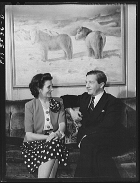 Washington, D.C. The Icelandic legation. Mr. and Mrs. Thors in their living room. The horses are Icelandic