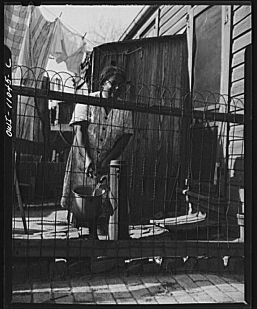 Washington (southwest section), D.C. Negro woman in her backyard. The wooden privy and the source for drinking water are side by side