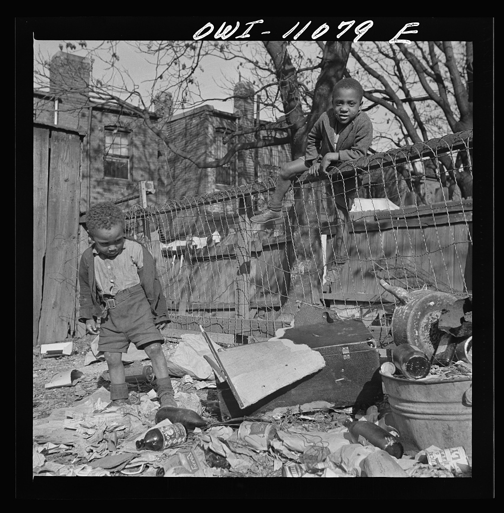 Washington (southwest section), D.C. Two boys playing in their backyard