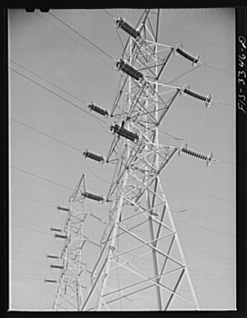 Watts Bar Dam, Tennessee. Tennessee Valley Authority (TVA). Transmission towers