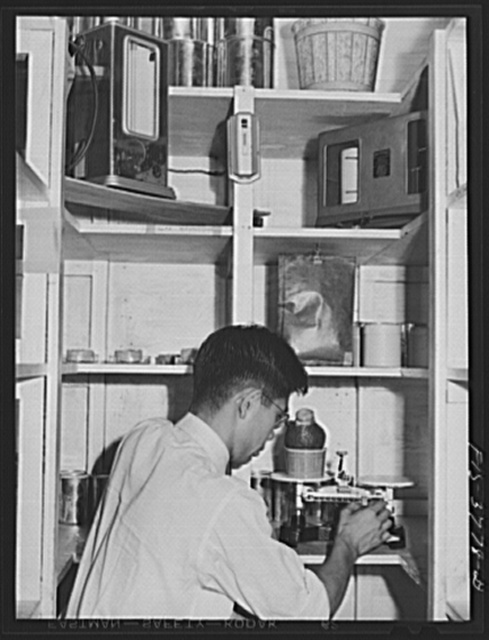 Weighing a packaged sample of dehydrated vegetable to determine moisture resistance quality of packaging. Regional agricultural research laboratory, Albany, California. A special humidifying room gives an accelerated test