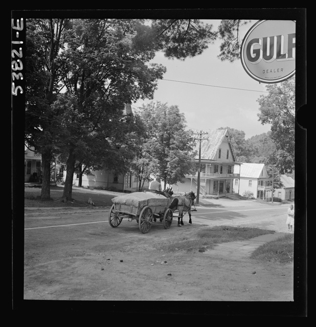 West Danville, Vermont. A load of sawdust from the lumber mill. The wagon saves gas and rubber