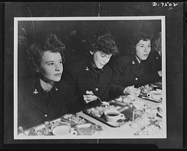 "Women Accepted for Voluntary Emergency Service. Smith College, Northampton, Massachusetts, becomes the home for WAVES in training. Here, midshipmen take on heavy schedule to learn the duties of an officer in the U.S. Naval Reserve. Chow! The girls eat ""twice as much"" as in civilian life. But they keep too busy to take on weight"