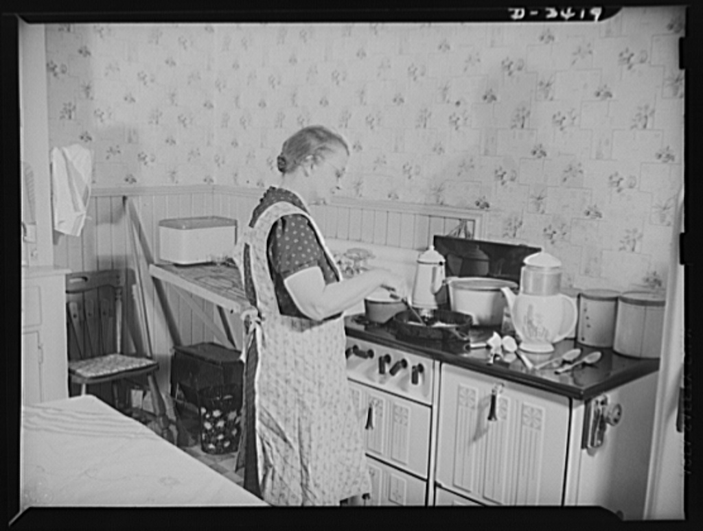 Women at war (Mrs. Smuda). Although she's one of America's vital production workers eight hours each day, fifty-five-year-old Eva Smuda still finds plenty of time to devote to home and family. Before the rest of the household is up, she has breakfast on the stove