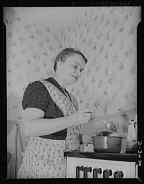 Women at war (Mrs. Smuda). Tastes good! After tapering fifty-millimeter cartidge shells for America's machine gun battallions, you'd think Mrs. Smuda would be ready for bed. But she's still full of pep and ready to fix dinner for the daughter, son-in-law and grandchild who live with her. This time it's stew, based on a recipe from her native Poland