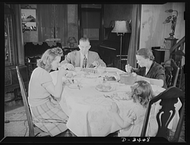 Women at war (Mrs. Smuda). The widowed mother of six grown children, Eva Smuda (right) keeps young with the daughter, son-in-law and grandchild who live with her. The little girl is five-year-old Barbara Bennett, whose father, opposite, works with Mrs. Smuda at the Frankford Arsenal