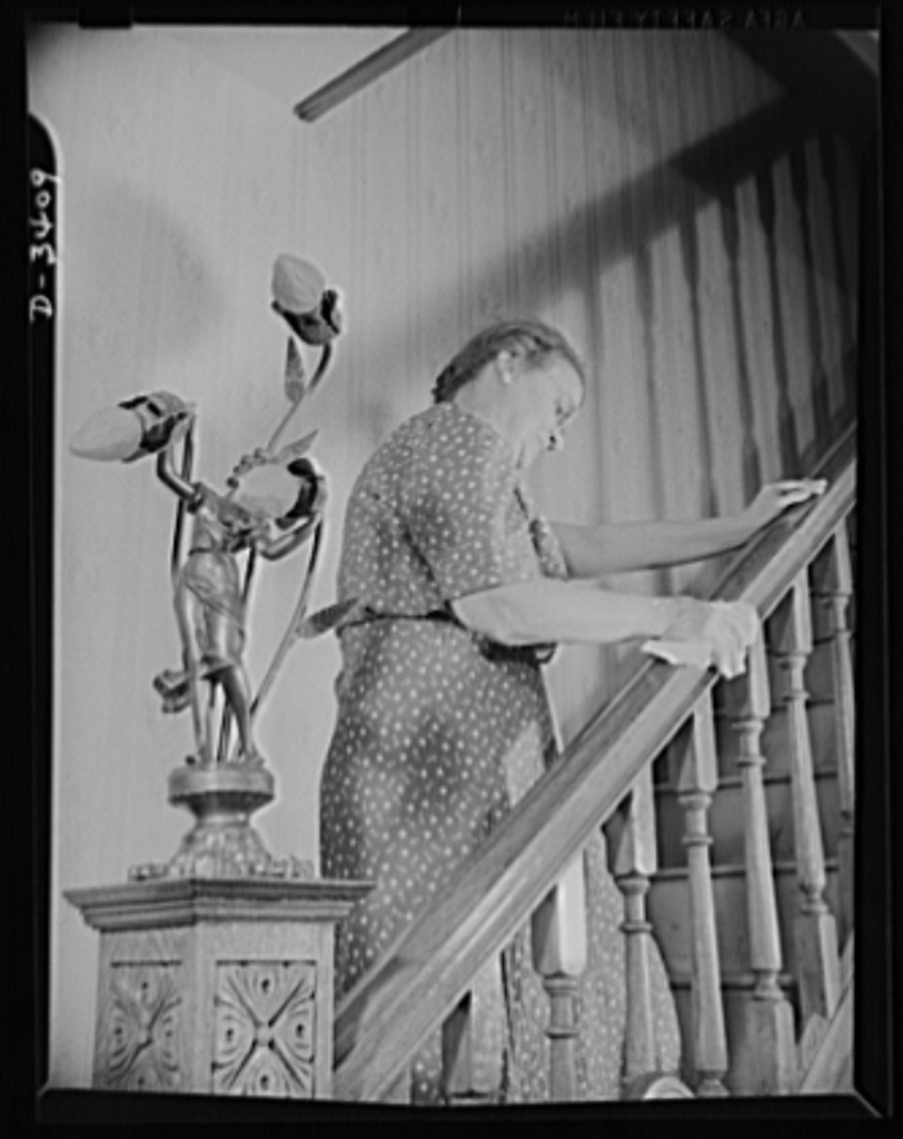 Women at war (Mrs. Smuda). There's no household task too arduous for this 1942-style American mother who spends eight hours a day working at the Frankford Arsenal to smash the Axis. When those banisters need cleaning and polishing, they get cleaned and polished by the lady of the house