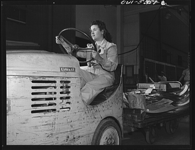 Women haul supplies and parts through the shop with these trucks and trailers