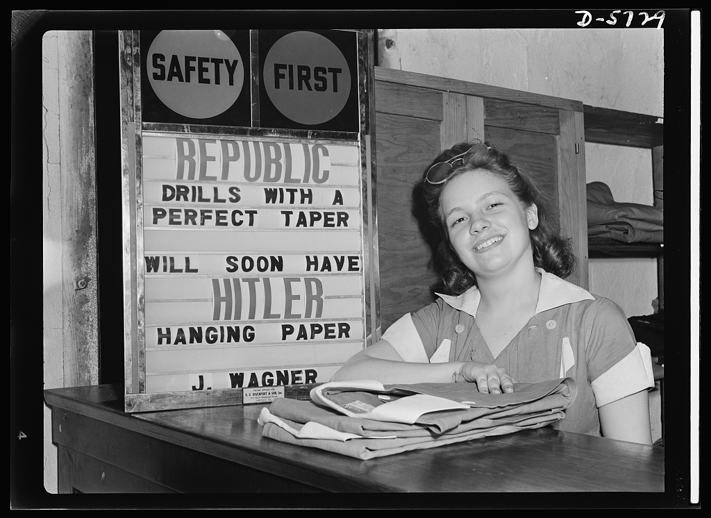 Women in industry. Tool  production. Maybe it isn't Shakespeare, but it makes sense to the employees of this drill and tool plant who are manufacturing thousands of drills each day for use in all war production industries. Republic Drill and Tool Company, Chicago, Illinois