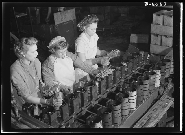 Women in war. Summer canning workers. Why tin cans should be saved. To assure adequate civilian supply of canned produce in the future, householders are urged to save their used cans and turn them in to their local collection agencies, which will send them to detinning mills. Reclaimed metals from these plants will go, in part, into more cans for American soldiers and civilians