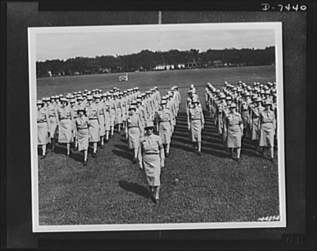 Women's Army Auxiliary Corps. WAACS on parade ground going through the company drill. The U.S. Army men who trained these WAACS say they are better marchers than men and take a lot of pride in the way the girls have caught on, Des Moines, Iowa, 1942