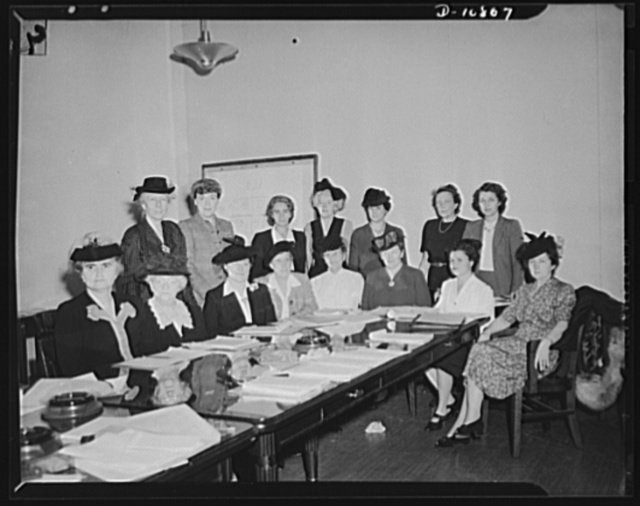 Women's Policy Committee of the War Manpower Commission. First meeting of the Women's Policy Committee of the War Manpower Commission held on October 1, 1942. The committee is to aid in mobilizing women workers for the war effort. Standing, left to right: Dr. Lillian M. Gilbreth, Mrs. Beatrice Gould, Mrs. Dorothy Bellanca, Miss Bess Bloodworth, Mrs. Harris T. Baldwin, Miss Sara Southall, Miss Thelma McKelvey. Seat, left to right: Miss Margaret A. Hickey, chairman; Mrs. Lowell Hobart, Mrs. Gladys Talbott Edwards, Miss Ruth Allen, Mrs. Maudelle Bousfield, Mrs. Sadie Orr Dunbar, Miss Jenny Matyas, Mrs. Blanche M. Ralston