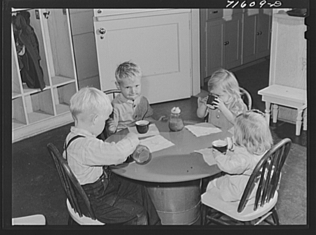 Woodville, California. FSA (Farm Security Administration) farm workers' community. Orange juice for the children in the nursery school