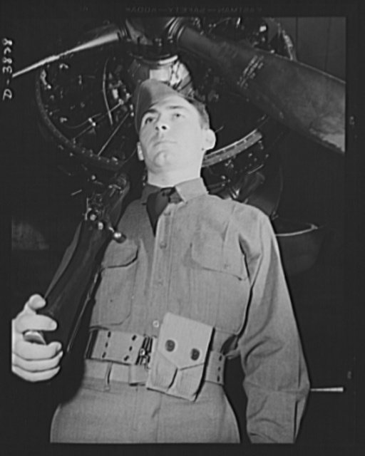 YB-17 bombardment squadron, Langley Field, Virginia. Hanger guard, member of a bombardment squadron stationed at Langley Field, Virginia. His duty is to protect the big YB-17 bombers and other planes while they are in the hangers