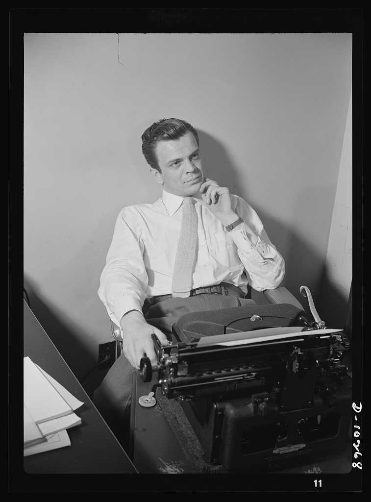 """""""You Can't Do Business With Hitler."""" Elwood Hoffman writes the script for """"You Can't Do Business With Hitler"""" radio show, written and produced by the radio section of the Office of War Information (OWI). This series of programs is broadcast by 800 stations in the United States and foreign countries"""