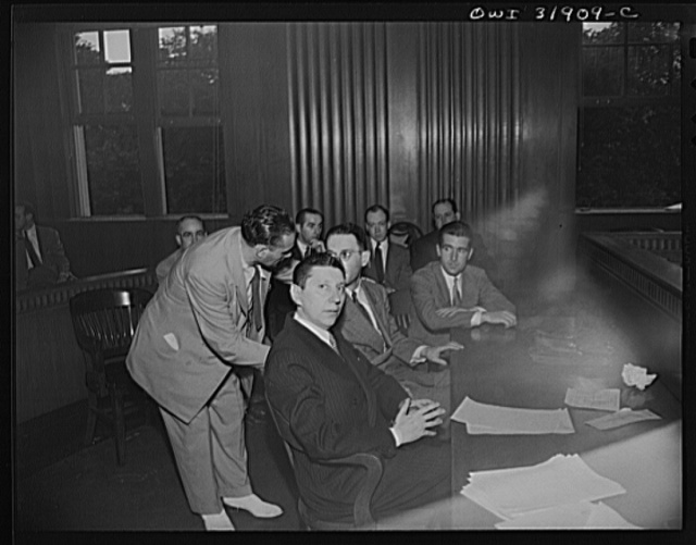 "A courtroom scene during the filming of ""Black Marketing,"" a motion picture produced by the U.S. Office of War Information (OWI) and released August 19, 1943"